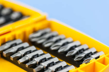 bits: Closeup on phillips and robertson screwdriver insert bits of various sizes Stock Photo