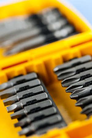 Closeup on screwdriver insert bits of vaus sizes Stock Photo - 18066121