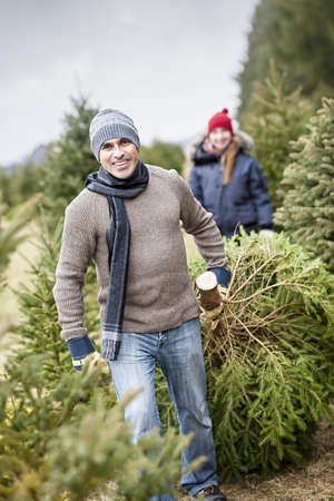 Man dragging fresh spruce at cut your own Christmas tree farm with his daughter in background Banco de Imagens
