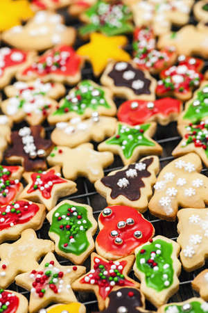 Freshly baked homemade shortbread Christmas cookies on cooling rack Stock Photo - 18341732