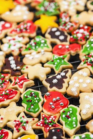 Freshly baked homemade shortbread Christmas cookies on cooling rack Stock Photo - 18341732