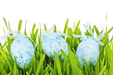 Three blue speckled easter eggs with ribbons in green grass Stock Photo - 18341650