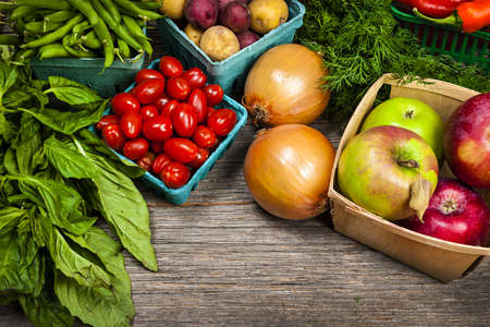 Fresh farmers market fruit and vegetable on display Stock Photo - 18341819