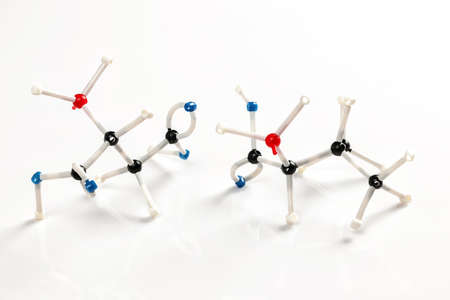 represented: Structure of valine and aspartic amino acid molecules represented with molecular model building kit Stock Photo