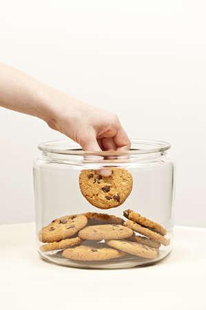 robando: Teniendo a mano galletas de chispas de chocolate de la jarra de vidrio
