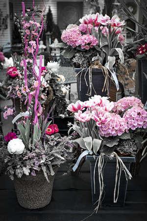 Several pink spring floral arrangements for sale at the florist photo