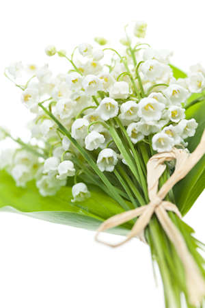 Lily of the valley flowers bouquet isolated on white background Stok Fotoğraf