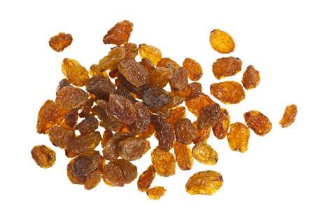 sultana: Heap of yellow sultana raisins isolated on white background Stock Photo