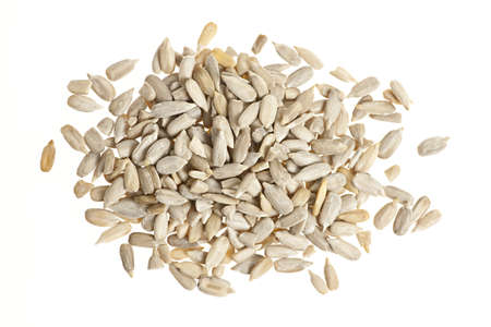 Heap of raw shelled sunflower seeds isolated on white background from above Stock Photo - 20004879