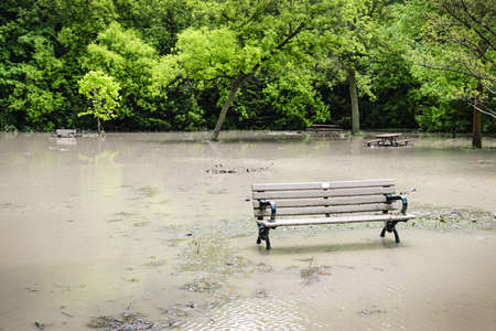 submerge: Picnic area of Sunnybrook park in Toronto flooded after heavy rains Stock Photo