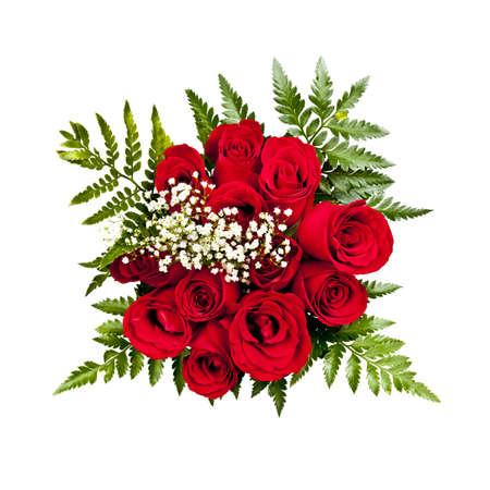 흰색 배경에 위에서 12 개의 빨간 장미 꽃다발