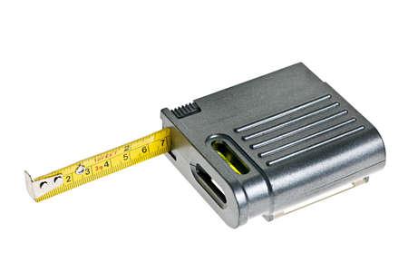 白い背景の分離レベルと灰色のテープ メジャー