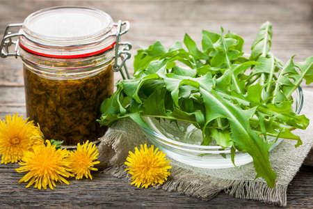 食用タンポポの採花とタンポポの保存の瓶と緑