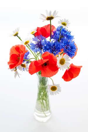 양귀비, 데이지,하는 cornflowers - 야생화의 꽃다발