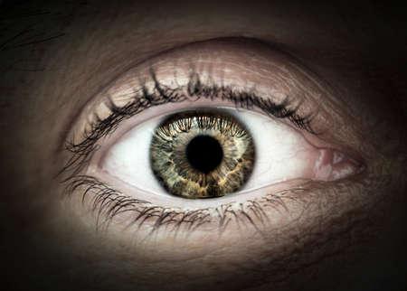 Primer macro del hombre con los ojos las pestañas del párpado y interesante patrón del iris