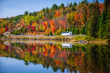 Tour bus driving though fall forest with colorful autumn leaves reflecting in lake. Highway 60 at Lake of Two Rivers, Algonquin Park, Ontario, Canada.