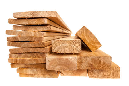 Various sizes of wooden cedar boards isolated on white background Standard-Bild