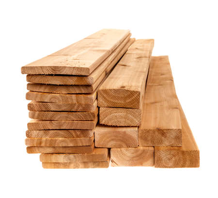 Various sizes of wooden cedar boards isolated on white background Stockfoto