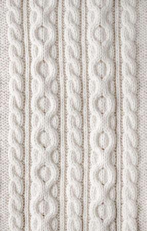 배경으로 케이블 패턴 흰색 울 니트 원단의 니트 질감 스톡 콘텐츠 - 30610295