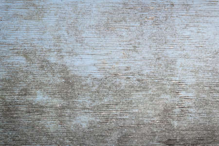 Old wooden background of weathered distressed rustic wood with faded light blue paint showing woodgrain texture