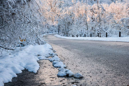 Scenic winter road through icy forest covered in snow after ice storm and snowfall. Ontario, Canada.