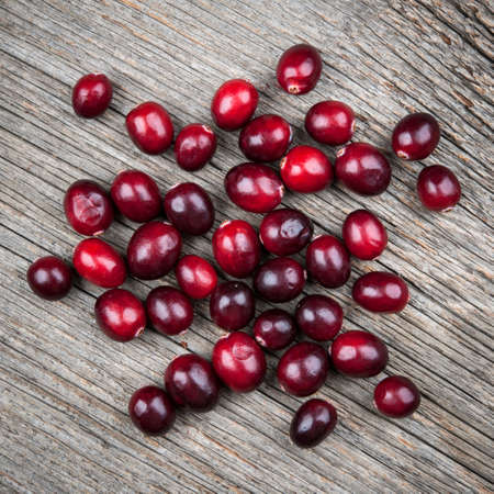 Heap of fresh red ripe cranberries on rustic wood background, square format