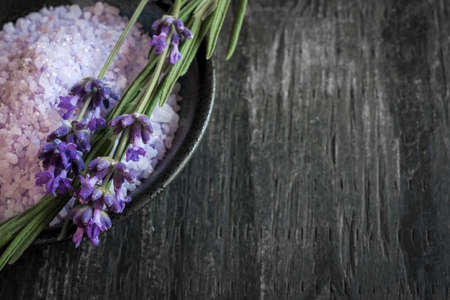 Bath salts herbal body care product with fresh lavender on rustic wooden background, copy space Zdjęcie Seryjne