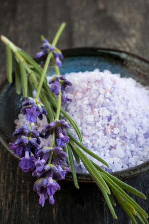Lavender bath salts herbal body care product with fresh flowers close up Фото со стока