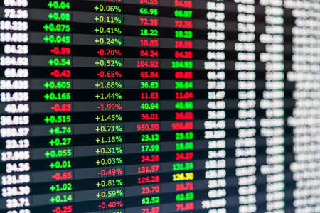 Stock market numbers and financial data displayed on trading screen of online investing platform Фото со стока