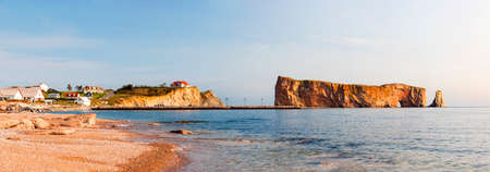 Perce Rock or Rocher Percé view from beach at Gaspe Peninsula in Quebec, Canada.