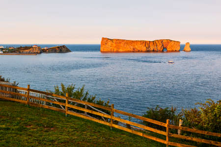 Perce Rock view from  Gaspe Peninsula at sunset  in Quebec, Canada