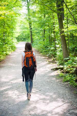 Jonge vrouwenwandelaar die met rugzak op wandelingssleep lopen in zonnig de zomerbos. Het natuurreservaat van Hilton Falls, Ontario, Canada. Stockfoto