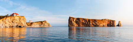 Perce Rock or Rocher Percé view with reflections at Gaspe Peninsula coast in Quebec, Canada.