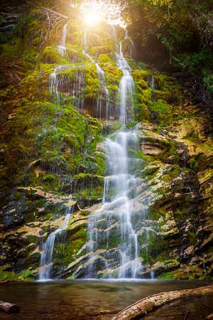 Watervalla Helling die over groene mos behandelde rotsen in Forillon National Park, Gaspe-schiereiland, Quebec, Canada draperen.