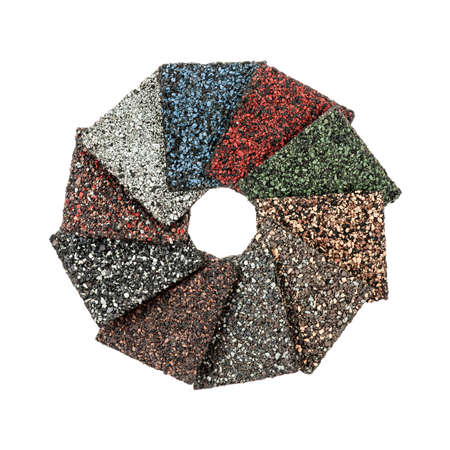 Roofing material asphalt shingles samples of various colors isolated on white background arranged in circle