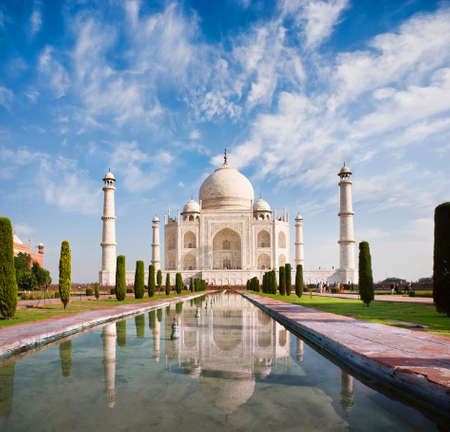 indian blue: Taj Mahal on a sunny day with beautiful sky