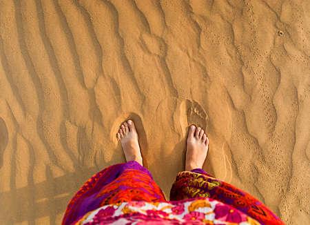 shoeless: Feet in the desert  Stock Photo