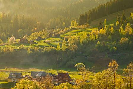 vorohta: Colorful landscape with village and mountains. Carpathians, Ukraine. Stock Photo