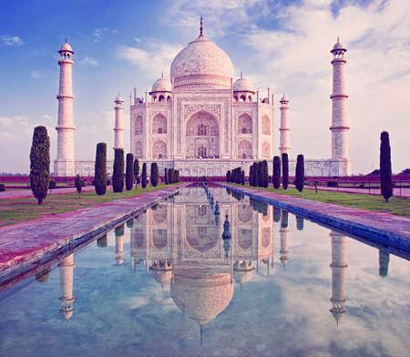 temples: Taj Mahal in sunrise light, Agra, India Stock Photo
