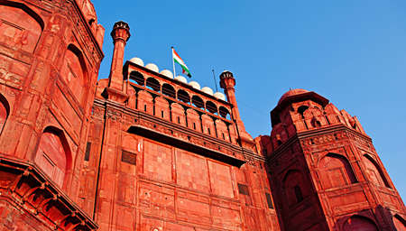 mughal empire: Lal Qila - Red Fort in Delhi, India. Red Fort is a 17th century fort complex was designated   in 2007. It covers area of about 121.34 acres. Stock Photo