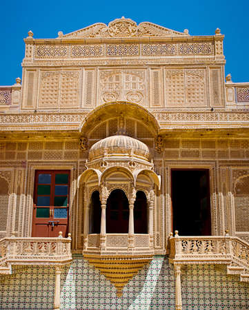 haveli: Carved window in Mandir Palace, Jaisalmer, Rajasthan, India