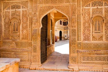 haveli: Architectural detail of the Mandir Palace, Jaisalmer, Rajasthan, India.