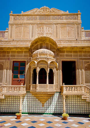 JAISALMER, INDIA - September 22: Carved window in Mandir Palace, September 22, 2013 in Jaisalmer, India.