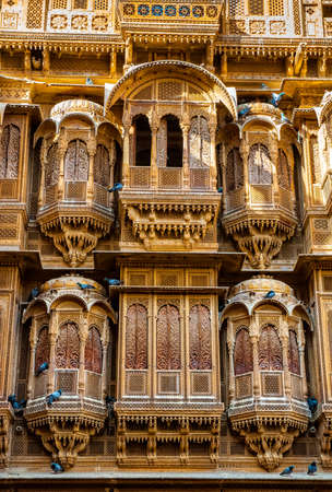 The beautiful Patwon ki Haveli palace made of golden limestone in Jaisalmer, India