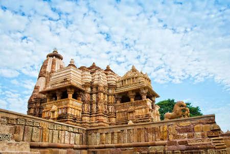 Devi Jagdambi Temple, dedicated to Parvati, Western Temples of Khajuraho. Popular amongst tourists all over the world. Stock Photo