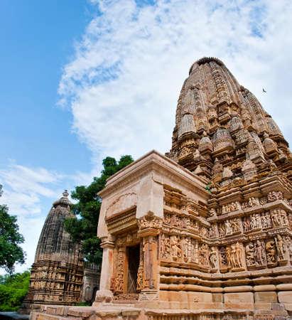 Temples of Khajuraho under cloudy sky.    Khajuraho, Madhya Pradesh, India. Stock Photo