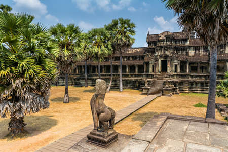 Amazing view of Angkor Wat is a temple complex in Cambodia and the largest religious monument in the world. Location: Siem Reap, Cambodia. Artistic picture. Beauty world. Stock Photo