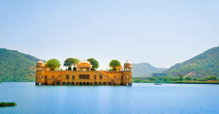 The palace Jal Mahal. Jal Mahal (Water Palace) was built during the 18th century in the middle of Man Sager Lake. Jaipur, Rajasthan, India.