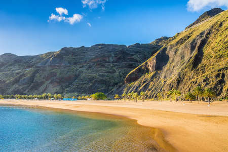 Amazing view of beach las Teresitas with yellow sand. Location: Santa Cruz de Tenerife, Tenerife, Canary Islands. Artistic picture. Beauty world. 스톡 콘텐츠