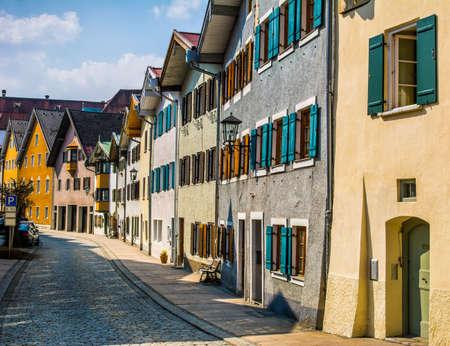 Beautiful street of old buildings, Fussen city, Germany